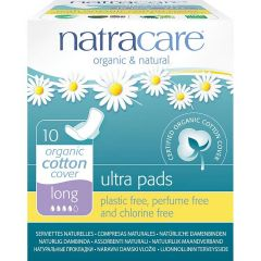 Natracare Organic Cotton Ultra Pad With Wings Long (10 pads) - Bulk buy and save 10%