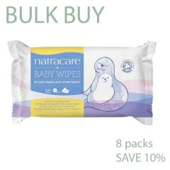 Pure Organic Cotton Wipes with Organic Chamomile, Buy 8 Packs Natracare Baby Wipes - Save 10%