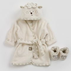 Sleepy Sheepy & Bathrobe Slippers 0-6 months - Cosy Up your Baby after Bath Time