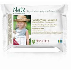 Biodegradable & 100% chlorine free Nature Babycare Unscented Flushable Baby Wipes (42 wipes)