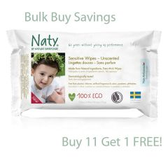 Alcohol, Chlorine & Fragrance Free Nature Babycare Sensitive Unscented Wipes, Buy 11 get one FREE!