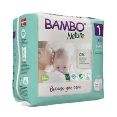 Manufactured from pulp from sustainable forestry Bambo XS (size 1) (22 nappies) Bulk buy and SAVE!