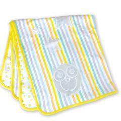 Beaming Baby Organic Cotton Baby Blanket Double Layer, Reversible 75cm x 75cm