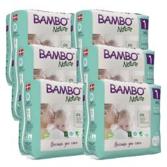 Clinically tested for skin irritation and allergy. Bambo XS Box, (size 1), (132 nappies), 6 packs, SAVE 10%