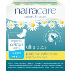 Natracare Organic Cotton Ultra Pad With Wings Super (12 pads) - Bulk buy and save 10%
